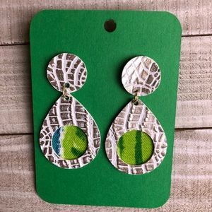 NWT Faux Leather Earrings, Metallic/White/Green